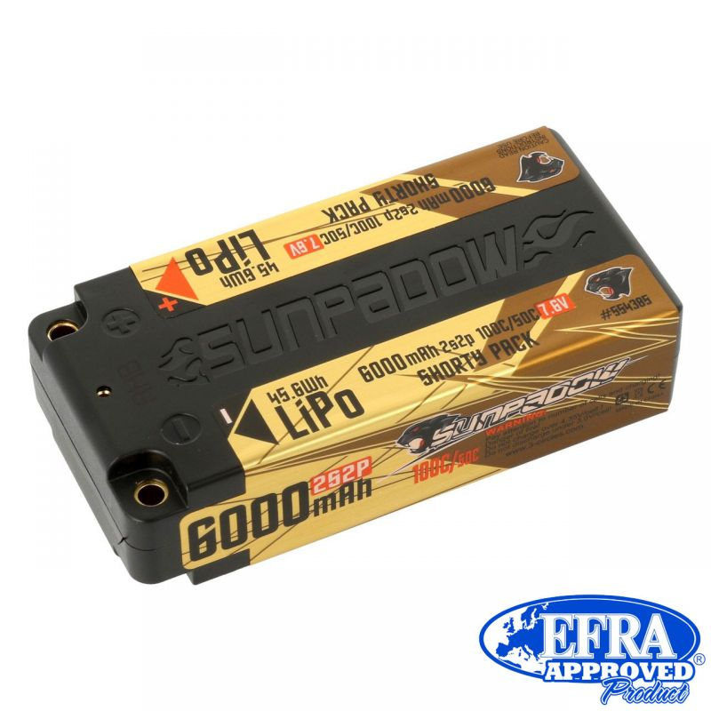 Sunpadow LiPo Akku HV 6000mAh 100C/50C 2s 7,6V Competition Shorty 4mm Buchse # 1St.