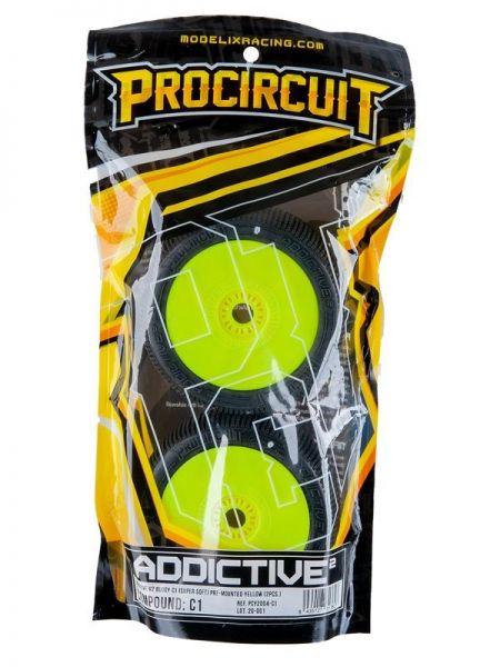 Procircuit Komplettrad ADDICTIVE V2 1:8 Buggy RC Reifen # C1 Super Soft